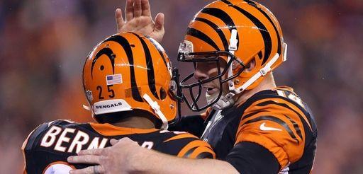 Andy Dalton #14 of the Cincinnati Bengals congratulates