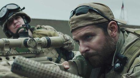 Kyle Gallner, left, as Goat-Winston and Bradley Cooper
