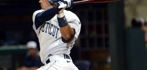 Connecticut's LJ Mazzilli hits a single in the