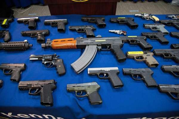 Some of the153 guns seized in Brooklyn between