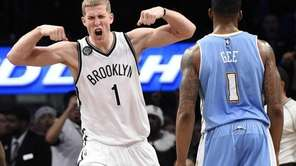 Brooklyn Nets center Mason Plumlee reacts after he