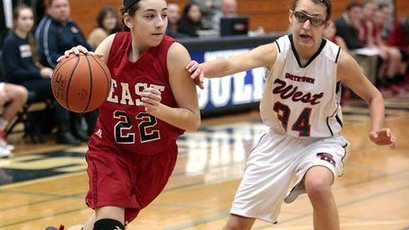 Smithtown East's Abby Zeitsiff drives the baseline against