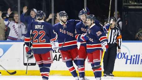Derek Stepan of the New York Rangers celebrates