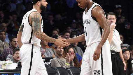 Brooklyn Nets guard Deron Williams is subbed into