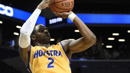 Hofstra Pride guard Ameen Tanksley attempts a three-point