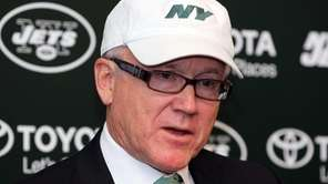 Jets owner Woody Johnson talks to media at