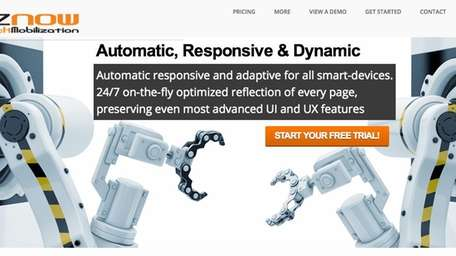 An image of the homepage for Zuznow, an