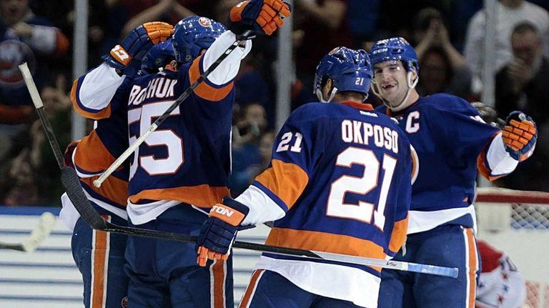 New York Islanders defenseman Johnny Boychuk (55) celebrates