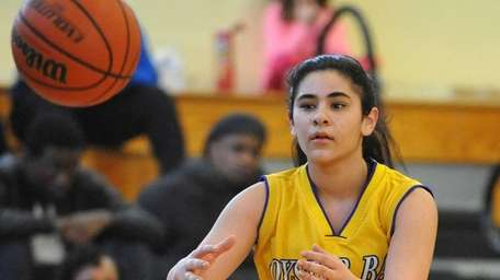 Oyster Bay's Gianna Gotti takes an inbounds pass