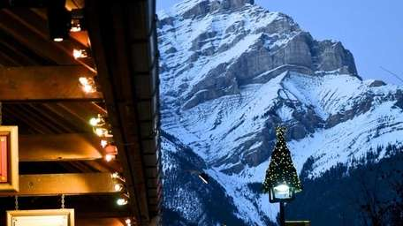 Downtown Banff with the Canadian Rockies as the