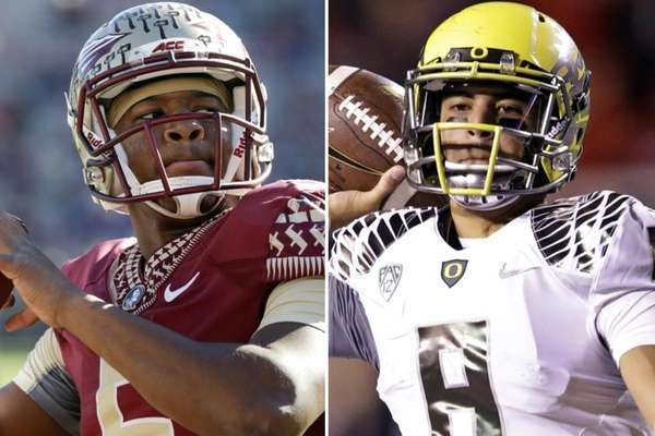 Florida State quarterback Jameis Winston, left, and Oregon