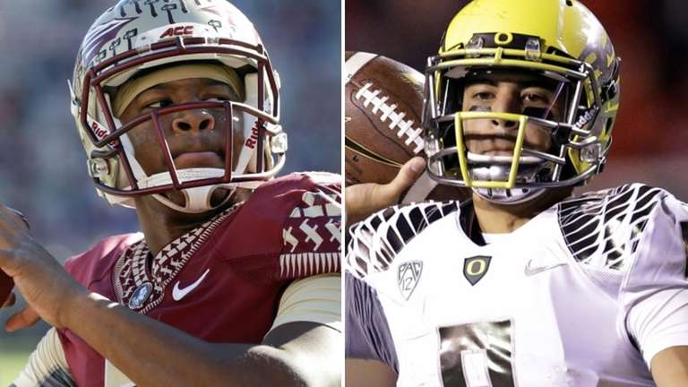 Florida State quarterback Jameis Winston, left, and Oregon