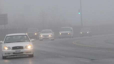 Foggy conditions along Ronkonkoma Avenue in Ronkonkoma Sunday