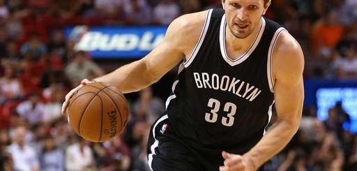 Mirza Teletovic #33 of the Brooklyn Nets drives