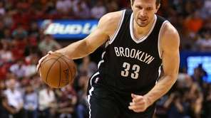 Mirza Teletovic #33 of the Brooklyn Nets drives