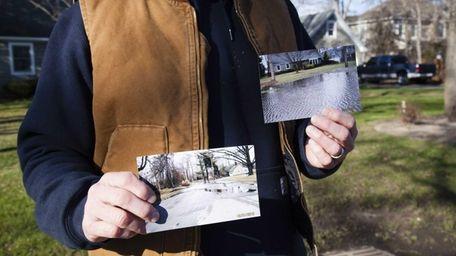 Robert Schneider, 56, holds photos of the flooding