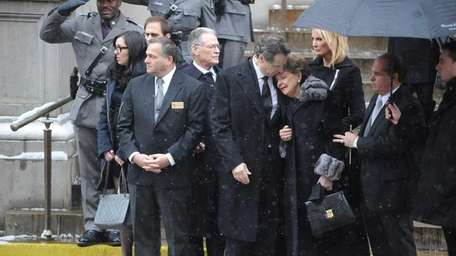 Gov. Andrew Cuomo comforts his mother, Matilda, following