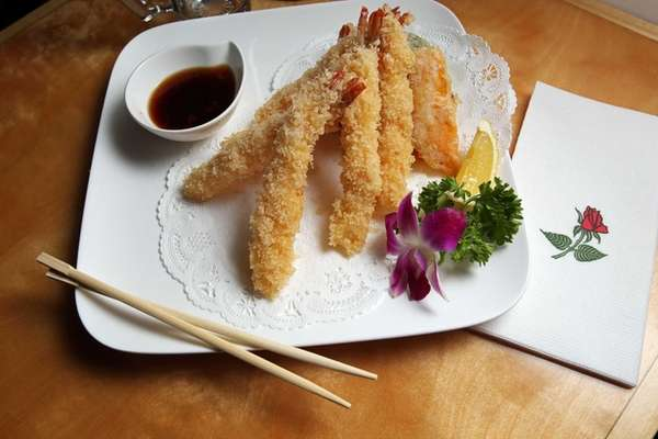 Shrimp and vegetable tempura is perfectly fried at