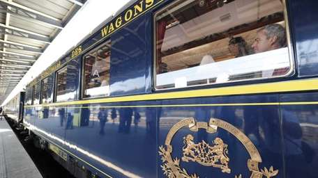 People visit the legendary Orient Express train at