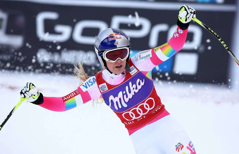 Lindsey Vonn of United States, reacts in the