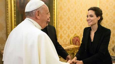 Pope Francis meets with Angelina Jolie for a