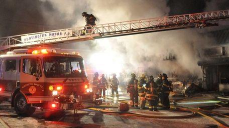 A fire ravaged a Huntington Station strip mall