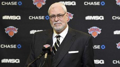 New York Knicks president Phil Jackson speaks at