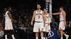 New York Knicks players including guard Jose Calderon