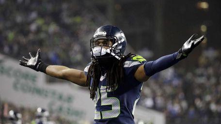 Seattle Seahawks cornerback Richard Sherman gestures during the