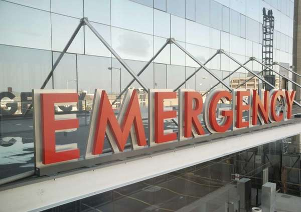 Emergency room sign.