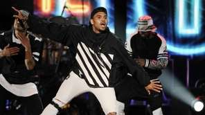 Singer Chris Brown performs during the 2014 Soul