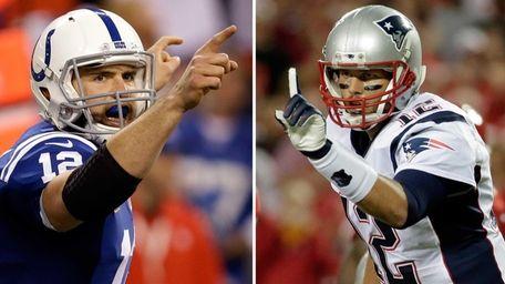 Indianapolis Colts quarterback Andrew Luck, left, celebrates a