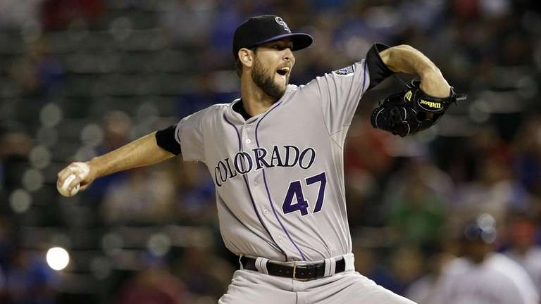The Yankees traded for Rockies righthanded reliever Chris