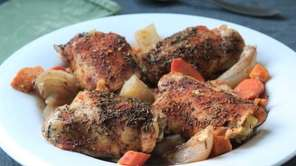 Sweet and baking potatoes, carrots, onions and chicken