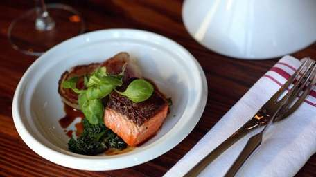 A surf-and-turf appetizer includes a rich combination of