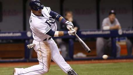 Yunel Escobar (11) of the Tampa Bay Rays