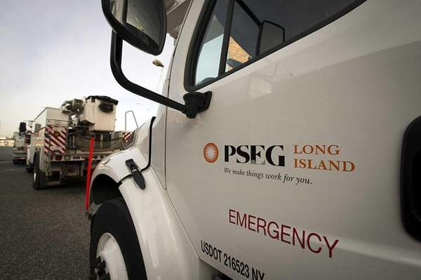 A PSEG truck comes out of the service