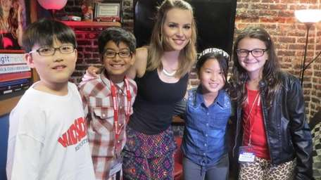 Singer and actress Bridgit Mendler with Kidsday reporters