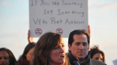 US Rep. Kathleen Rice, center, joined by local