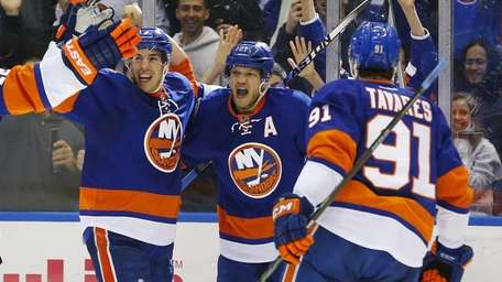 Kyle Okposo of the New York Islanders celebrates