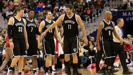 Brook Lopez of the Brooklyn Nets celebrates with