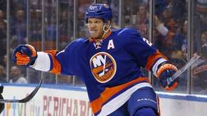 Kyle Okposo of the New York Islanders celebrates