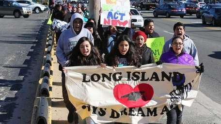 Students march in support of the New York