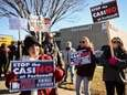 Cathy Mahoney, of Carle Place, chants during a