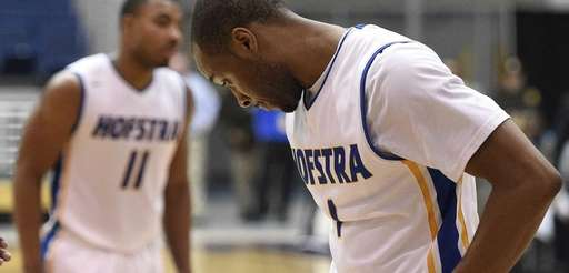 Hofstra Pride guard Juan'ya Green reacts after he