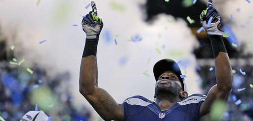 The Seattle Seahawks' Ricardo Lockette celebrates after during