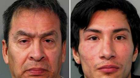 Edgar Monroy, 59, left, of Manorhaven, was charged