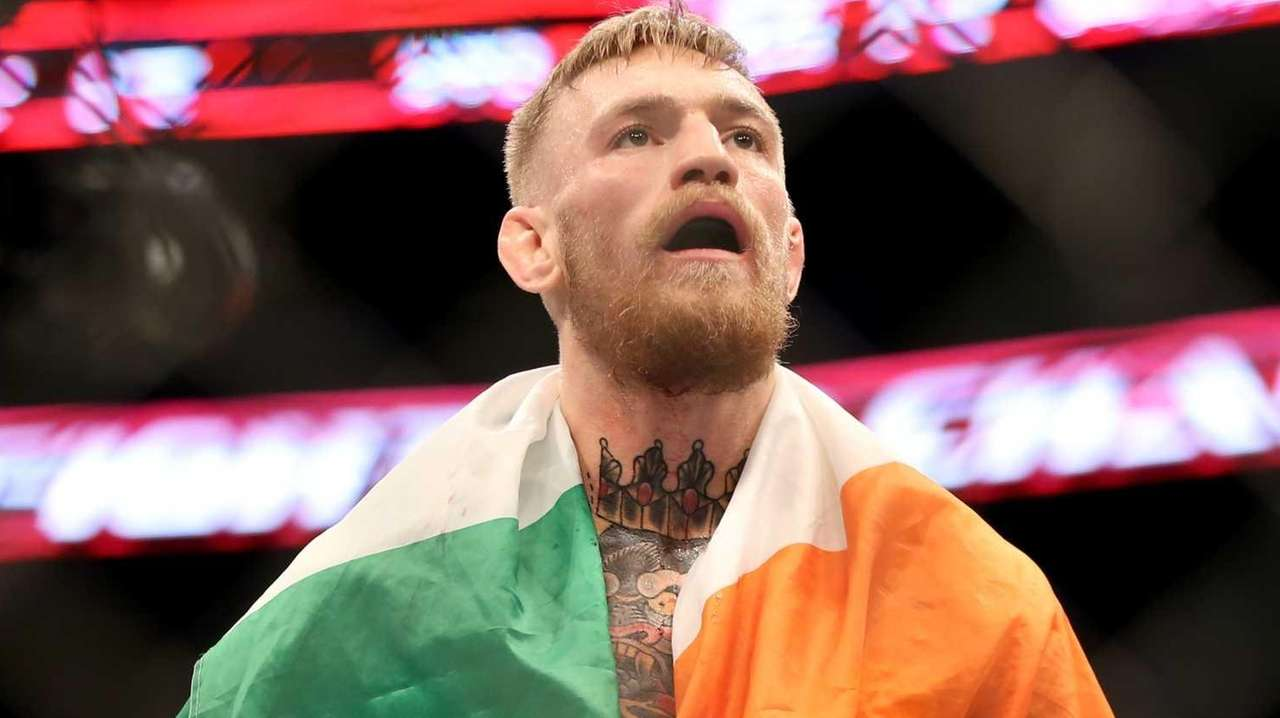 Conor McGregor, of Ireland, celebrates a win against