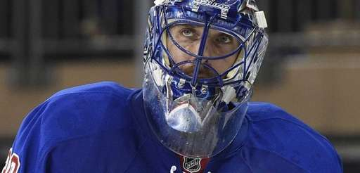 Rangers goalie Henrik Lundqvist looks on against the