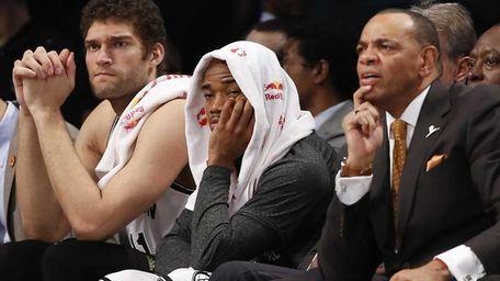 Brooklyn Nets center Brook Lopez, left, Nets guard